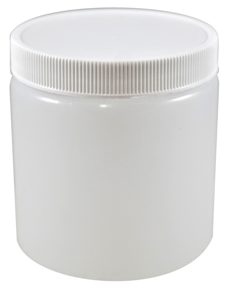 8oz Natural Cylindrical Jar (HDPE-26g) With 70/400 White Heat Induction Cap
