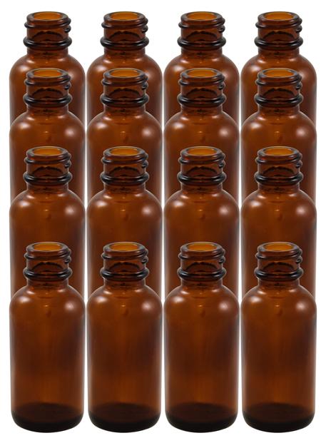 16 Pack 1oz Amber Boston Round (Glass) Bottles 20/400