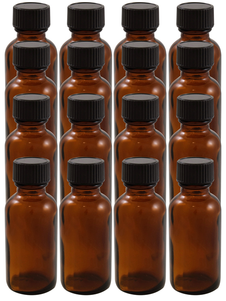 16 Pack 1oz Amber Boston Round (Glass) Bottles 20/400 With Cone Lined Phenolic Cap