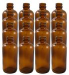16 Pack 4oz Amber Boston Round (Glass) Bottle 22/400<br /><br /> <table cellspacing=