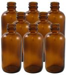 8 Pack 4oz Amber Boston Round (Glass) Bottle 22/400<br /><br /> <table cellspacing=