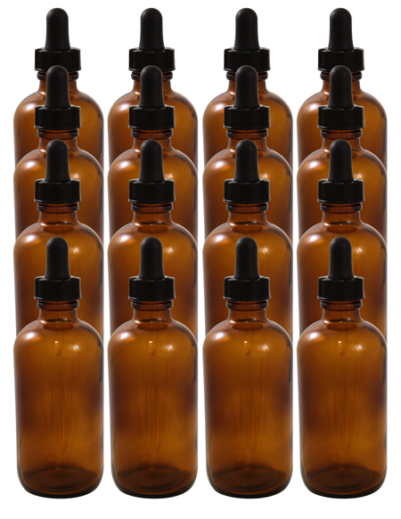 16 Pack 4oz Amber Boston Round (Glass) Bottle 22/400 With Black Dropper Assembly (Glass)