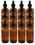 16 Pack 4oz Amber Boston Round (Glass) Bottle 22/400 With Black Dropper Assembly (Glass)<br /><br /> <table cellspacing=