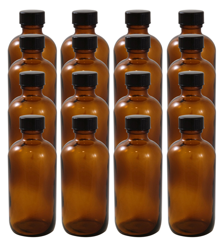 16 Pack 4oz Amber Boston Round Glass Bottle 22/400 With Cone Lined Phenolic Cap