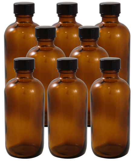 8 Pack 4oz Amber Boston Round Glass Bottle 22/400 With Cone Lined Phenolic Cap