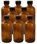 8 Pack 4oz Amber Boston Round Glass Bottle 22/400 With Cone Lined Phenolic Cap<br /><br /> <table cellspacing=
