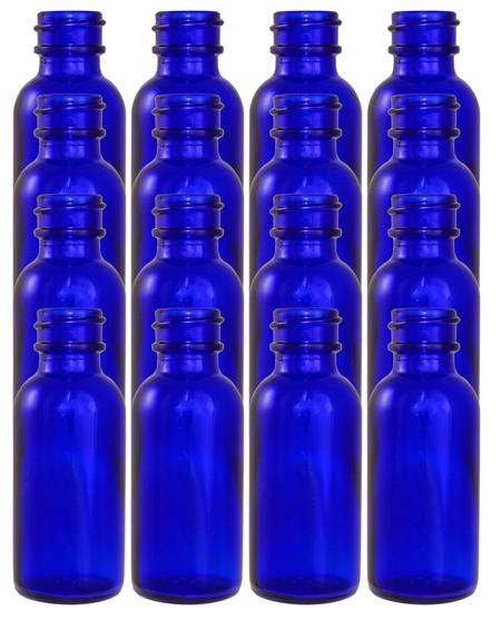 16 Pack 1oz Cobalt Boston Round (Glass) Bottles 20/400