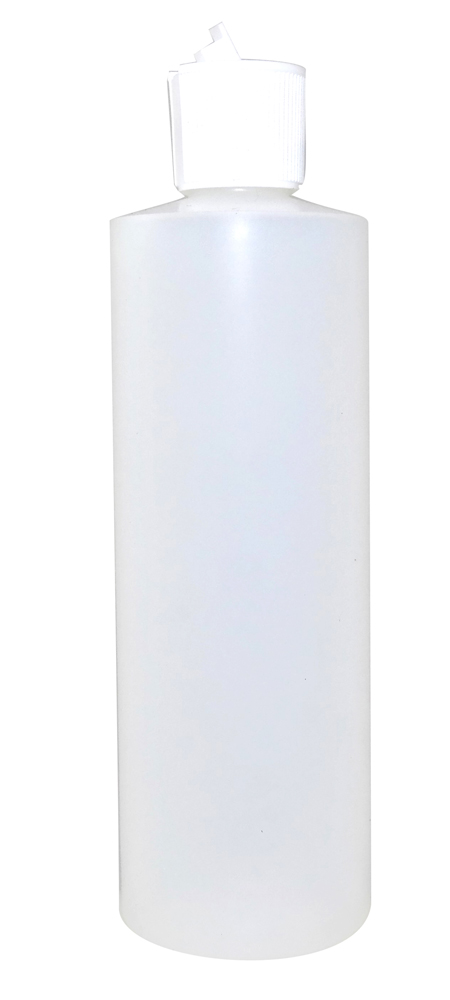 12oz Natural Cylindrical Bottle (HDPE-28g) With White Flip Top Cap 24/410