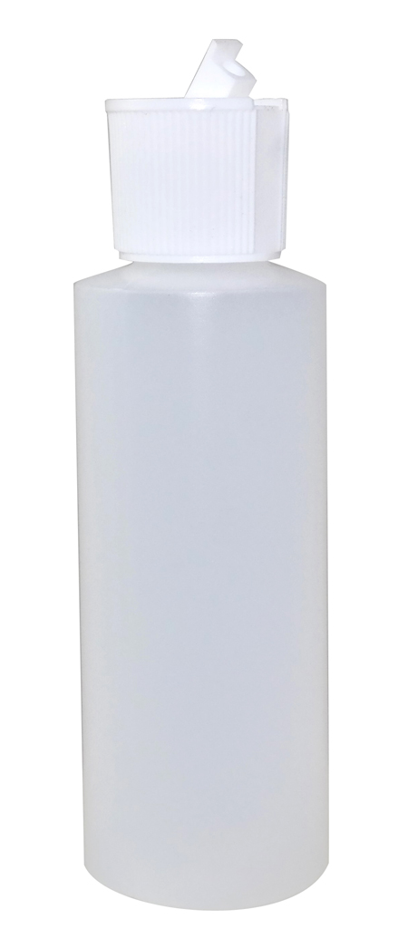 4oz Natural Cylindrical Bottle (HDPE-12g) With White Flip Top Cap 24/410