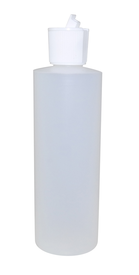 8oz Natural Cylindrical Bottle (HDPE-20g) With White Flip Top Cap 24/410