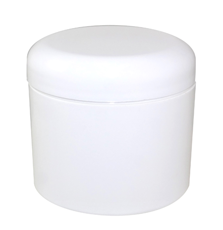 4oz White Double Wall Jar 70/400 With White Dome Unlined Cap