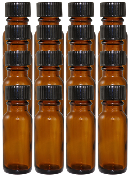 16 Pack 1/2oz Amber Boston Round (Glass) 18/400 With Cone Lined Phenolic Cap