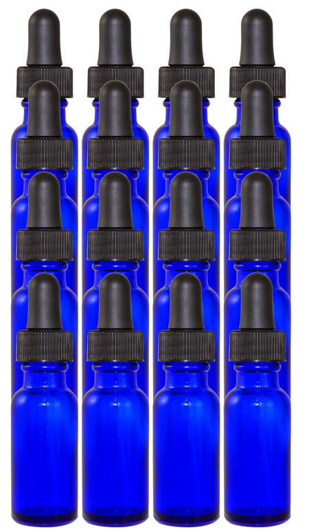 16 Pack 1/2oz Cobalt Boston Round (Glass) 18/400 With Black Dropper Assembly (Glass)