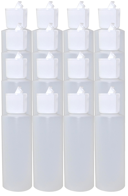 16 Pack 4oz Natural Cylindrical Bottle (HDPE-12g) With White Flip Top Cap 24/410
