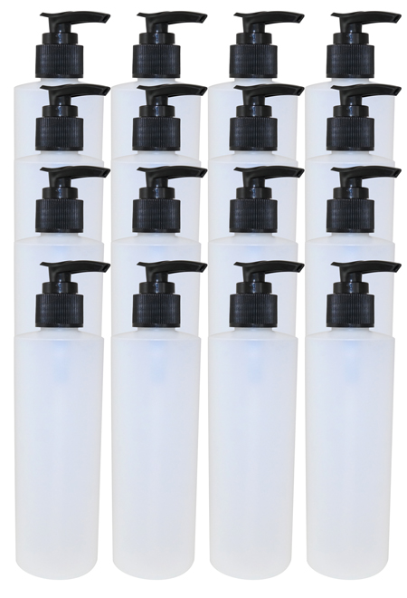 16 Pk 8oz Natural Cylindrical Bottle (HDPE-20g) With Black Lotion Pump Locking 2cc Output