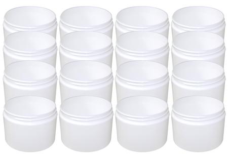 16 Pk 8oz White Double Wall Jar 89/400