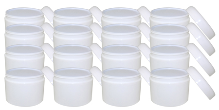 16 Pack 8oz White Double Wall Jar With White Dome Unlined Cap And White Vinyl Disc