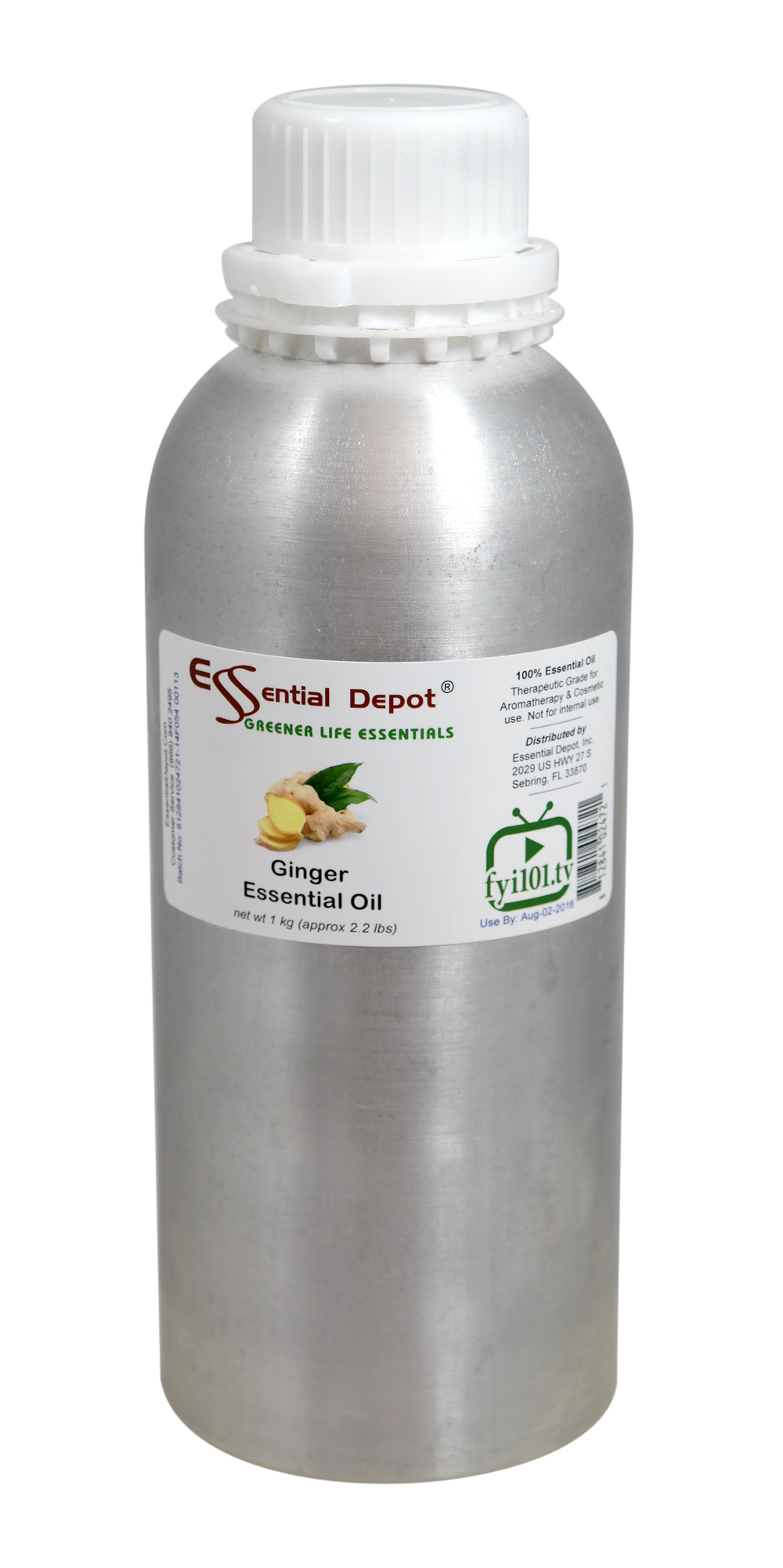 Ginger Essential Oil - 1 kg. - Approx 2.2 lbs. - FREE US SHIPPING