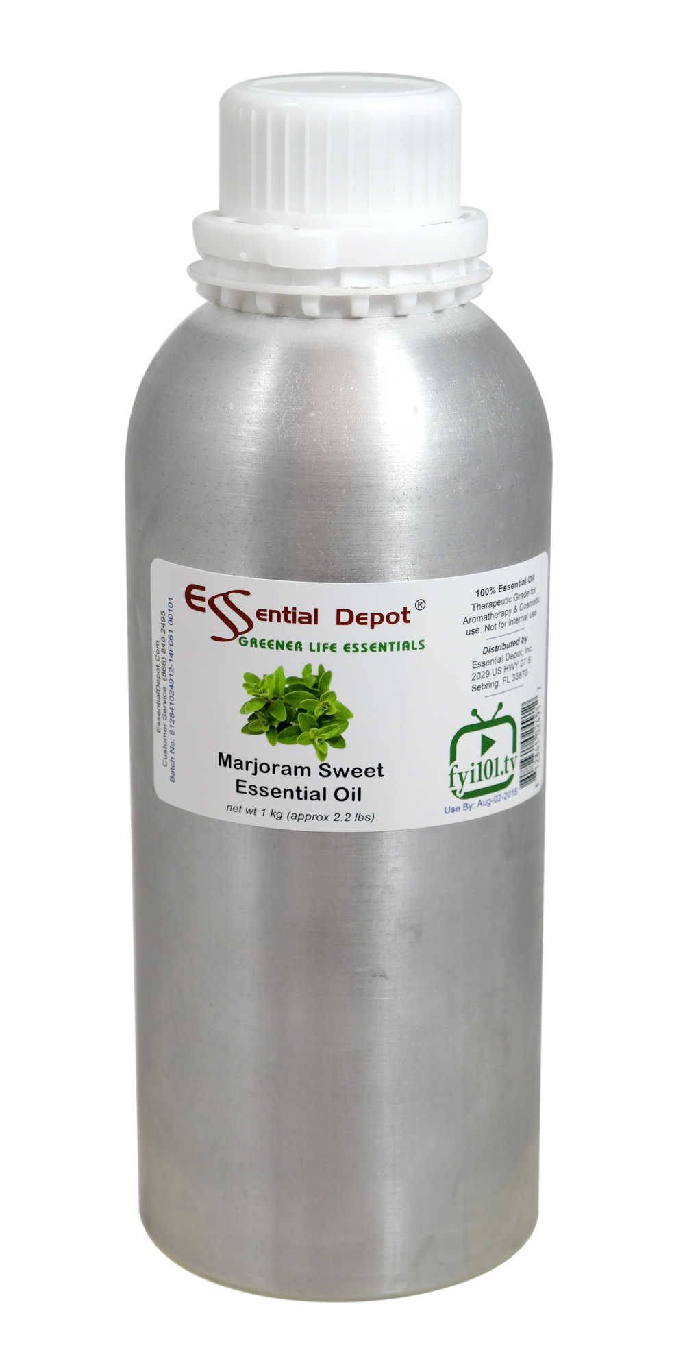 Marjoram Essential Oil - 1 kg. - Approx 2.2 lbs. - FREE US SHIPPING