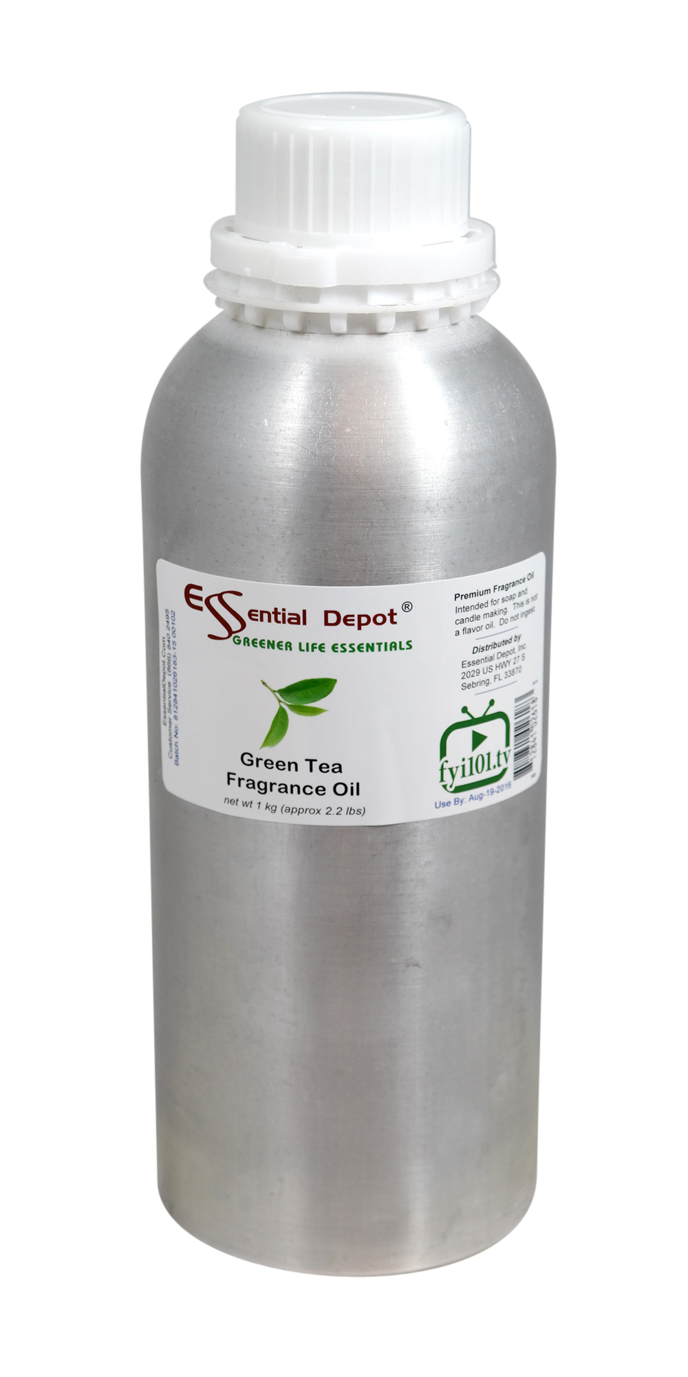 Green Tea Fragrance Oil - 1 kg. - Approx 2.2 lbs. - FREE US SHIPPING