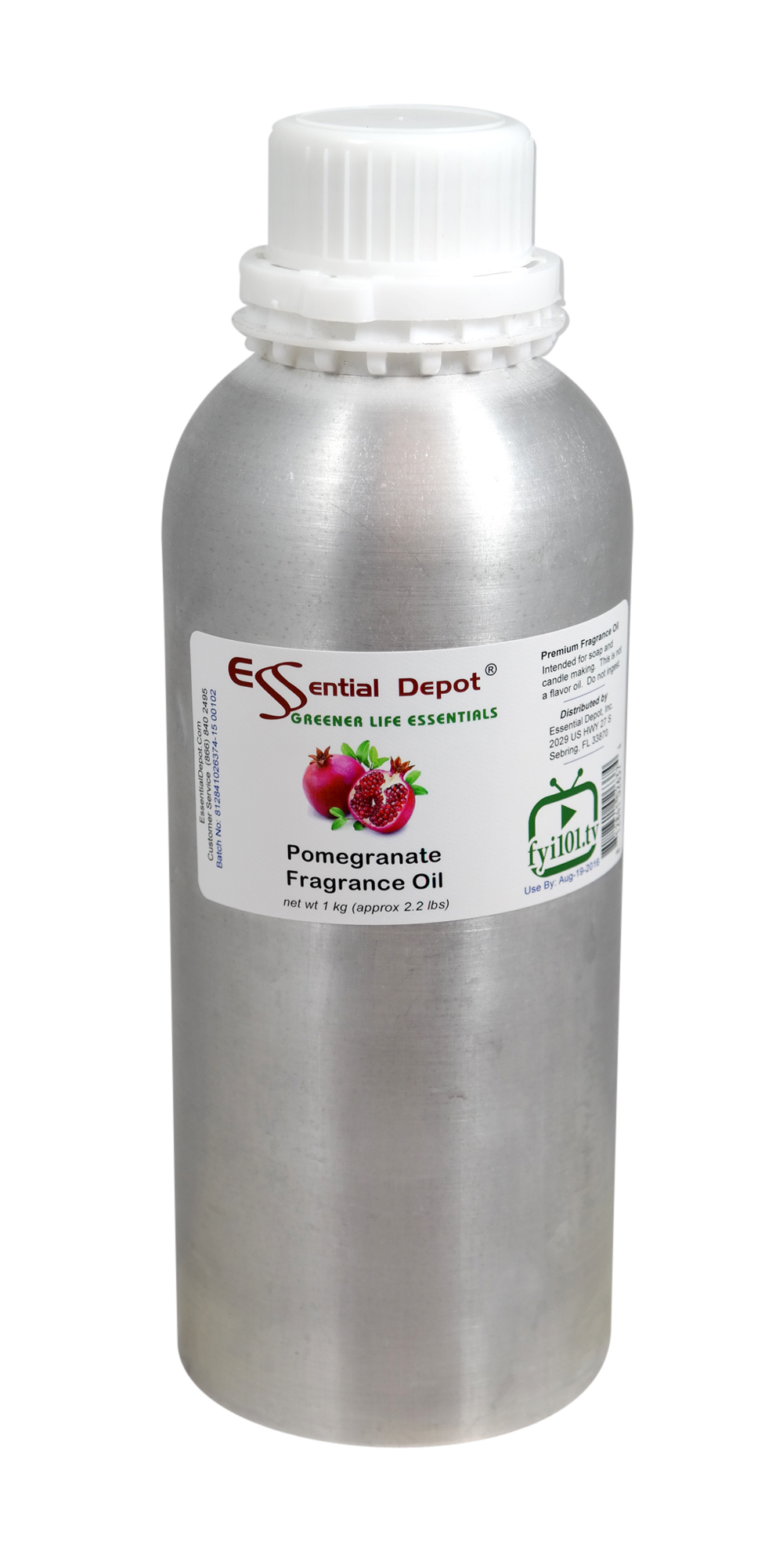 Pomegranate Fragrance Oil - 1 kg. - Approx 2.2 lbs. - FREE US SHIPPING