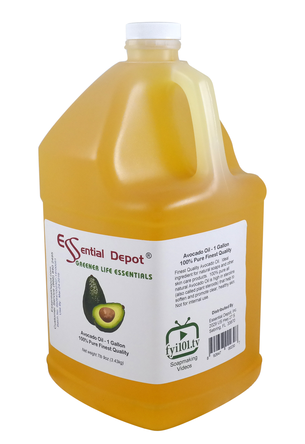 Avocado Oil - Finest Quality - 1 Gallon - Approx 8lbs - Shipped in 1 Gallon Container