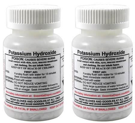 8 oz. Potassium Hydroxide Flakes KOH - FREE US SHIPPING - 2 x 4 oz. Bottles